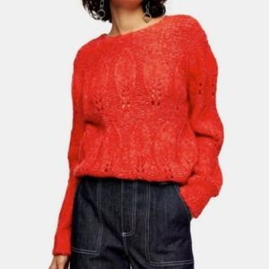 Topshop Petal Pointelle Red Gauzy Sweater NWT